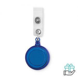 Badgehouder metalen clip blauw bedrukken