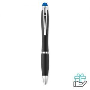 Balpen stylus lampje koninklijk blauw bedrukken