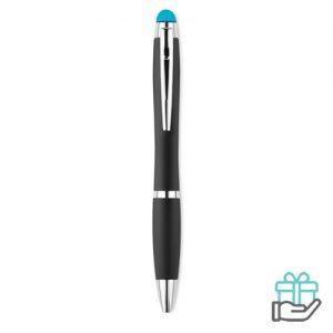 Balpen stylus lampje turquoise bedrukken