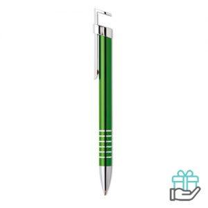 Balpen telefoonstandaard groen bedrukken