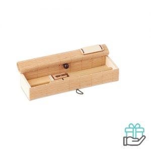 Bamboe bureauset houtkleur bedrukken