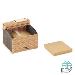 Bamboe notitieblok bureauset houtkleur bedrukken