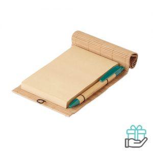 Bamboe notitieblok pen houtkleur bedrukken