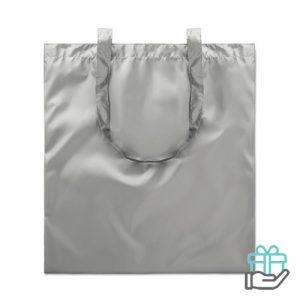 Boodschappentas metallic mat zilver bedrukken