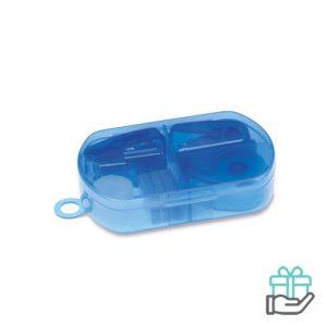Bureauset kunststof doosje transparant blauw bedrukken