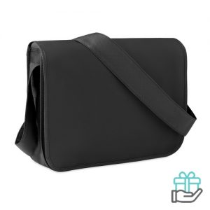 Documententas gekleurde flap zwart bedrukken