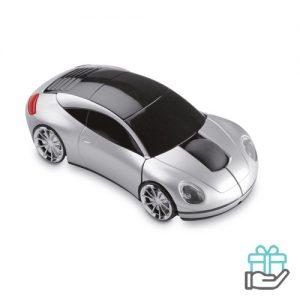 Draadloze muis autovorm mat zilver bedrukken