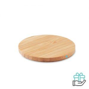 Draadloze oplader bamboe houtkleur bedrukken