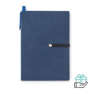 Gerecycled kartonnen notitieboekje pen blauw bedrukken