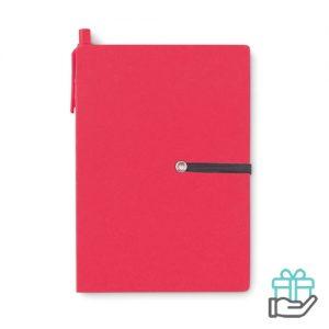 Gerecycled kartonnen notitieboekje pen rood bedrukken