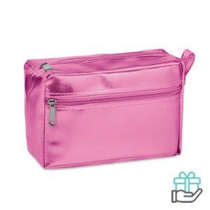 Glanzende toilettas baby roze bedrukken
