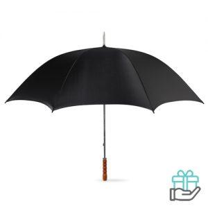 Golfparaplu houten handvat zwart bedrukken