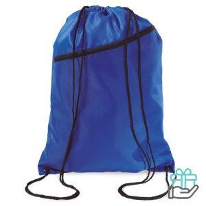 Gym rugzakje voorvak koninklijk blauw bedrukken