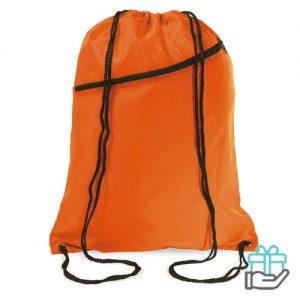 Gym rugzakje voorvak oranje bedrukken