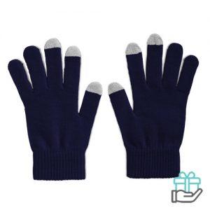 Handschoenen voor smartphones blauw bedrukken