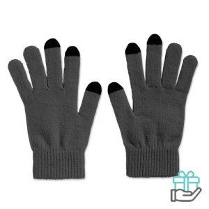 Handschoenen voor smartphones grijs bedrukken