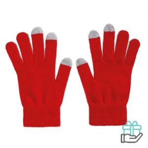 Handschoenen voor smartphones rood bedrukken