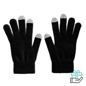 Handschoenen voor smartphones zwart bedrukken