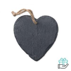 Hartvormige leistenen hanger zwart bedrukken