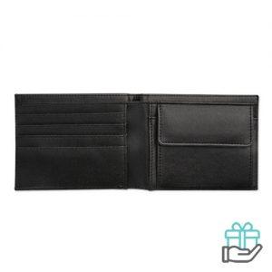 Heren portemonnee zwart bedrukken