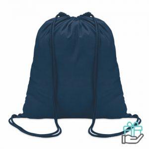 Hippe katoenen rugzak trekkoord blauw bedrukken