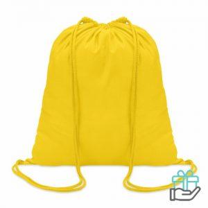 Hippe katoenen rugzak trekkoord geel bedrukken