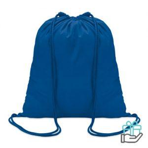 Hippe katoenen rugzak trekkoord koninklijk blauw bedrukken