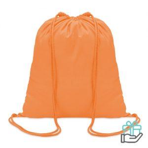 Hippe katoenen rugzak trekkoord oranje bedrukken