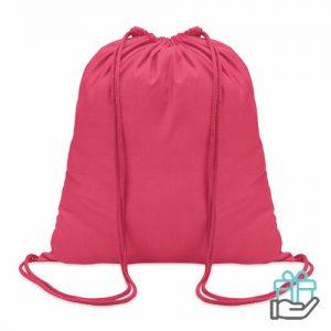 Hippe katoenen rugzak trekkoord roze bedrukken