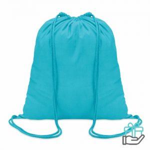 Hippe katoenen rugzak trekkoord turquoise bedrukken