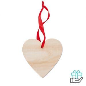Houten hanger hart houtkleur bedrukken
