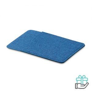 Kaarthouder poly blauw bedrukken