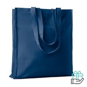 Katoenen boodschappentas lange hengsels 140g blauw bedrukken