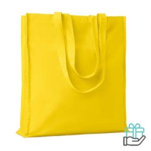 Katoenen boodschappentas lange hengsels 140g geel bedrukken