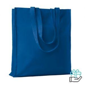 Katoenen boodschappentas lange hengsels 140g koninklijk blauw bedrukken
