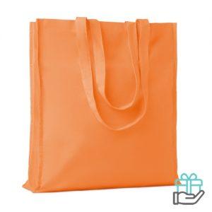 Katoenen boodschappentas lange hengsels 140g oranje bedrukken