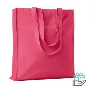 Katoenen boodschappentas lange hengsels 140g roze bedrukken