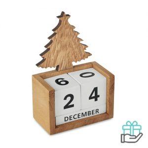 Kerst bureaukalender houtkleur bedrukken