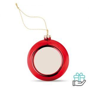 Kerstbal hoogglans rood bedrukken