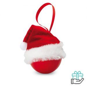 Kerstbal kerstmuts rood bedrukken