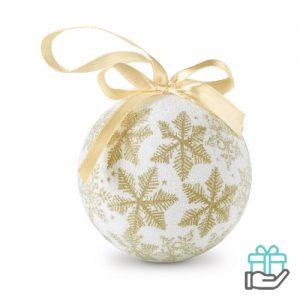 Kerstbal parelmoer sneeuwvlok goud bedrukken