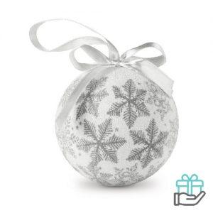 Kerstbal parelmoer sneeuwvlok zilver bedrukken
