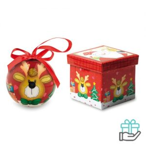 Kerstbal rendier schenkverpakking multikleur bedrukken