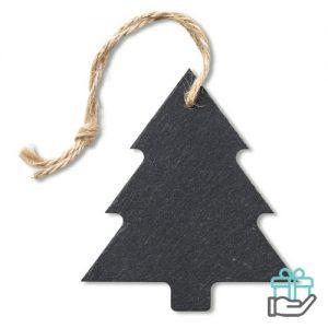Kerstboom hanger leisteen zwart bedrukken