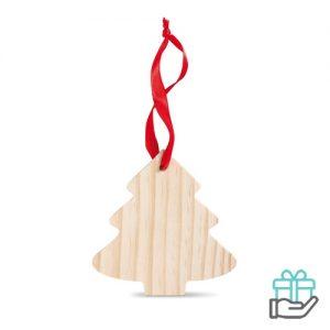 Kerstboomvormige houten hanger houtkleur bedrukken