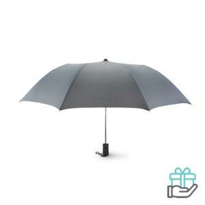 Kleine opvouwbare paraplu 21 inch grijs bedrukken