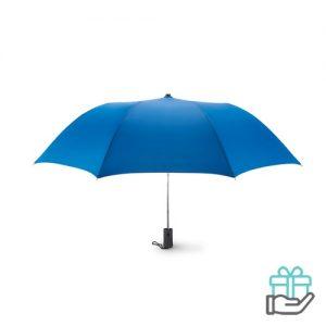 Kleine opvouwbare paraplu 21 inch koninklijk blauw bedrukken