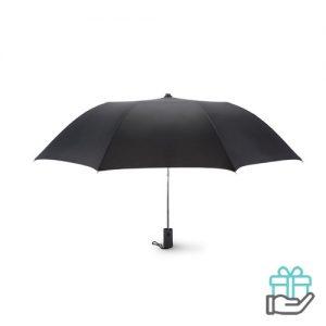Kleine opvouwbare paraplu 21 inch zwart bedrukken