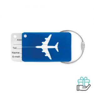 Kofferlabel bagage koninklijk blauw bedrukken