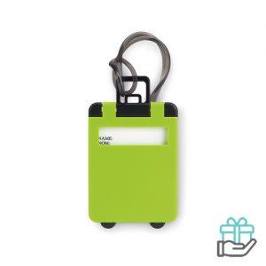 Kunststof bagagelabel groen bedrukken